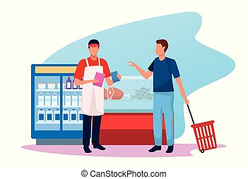 man with worker at supermarket in the zone of meat and beverages fridges