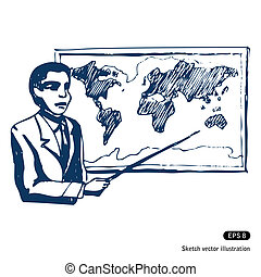 Man with world map