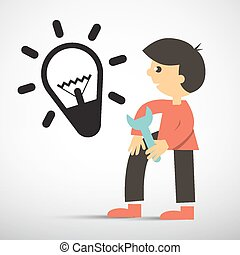 Man with Wrench and Bulb Icon Vector Illustration