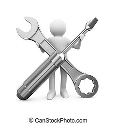 Man with wrench and screwdriver. Isolated 3D image