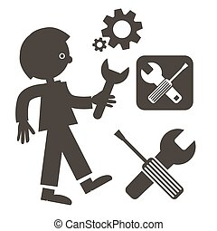 Man with Wrench Icon. Vector Tools Symbols. Screwdriver - Cogs - Gears and Man Holding Wrench.