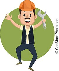 Man with wrench, illustration, vector on white background.