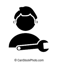 man with wrench key tool silhouette style icon
