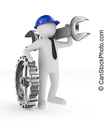 Man with wrench on white background. Isolated 3D image