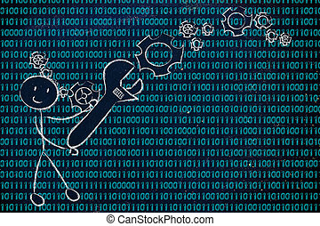 man with wrench setting up binary code, information...