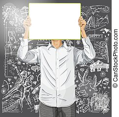 Man With Write Board Against Love Background