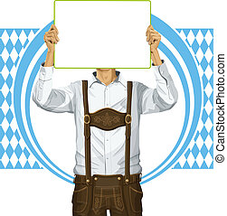 Man With Write Board On Oktoberfest - Idea concept. Vector ...