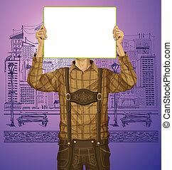 Man With Write Board On Oktoberfest - Idea concept. Vector...