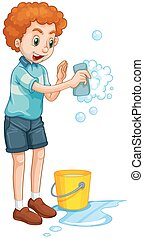 Man with yellow bucket and cleaning sponge