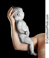 man with young baby