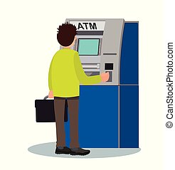 Man withdraws money from an ATM. Vector illustration.