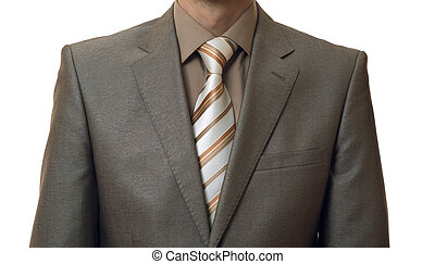 man without head in business suit on white background