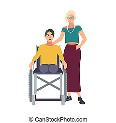 Man without legs sitting in wheelchair and his girlfriend or...