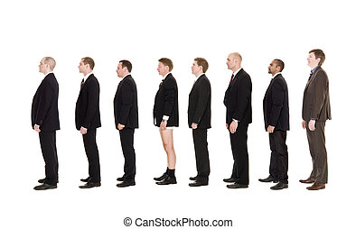 Man without pants standing on a line with other men