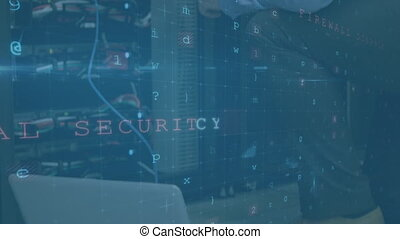 Man woeking in server room with security warning signs