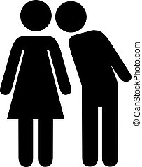 man woman, 亲吻, pictogram