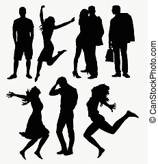 man, woman, and couple silhouettes
