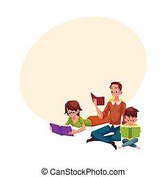 Man, woman, boy reading books sitting and lying on floor