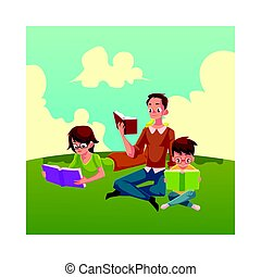 Man, woman, boy reading books sitting and lying on the grass