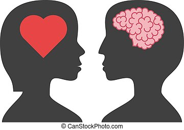Man, woman, brain, heart