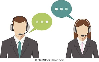 Man, woman, call center