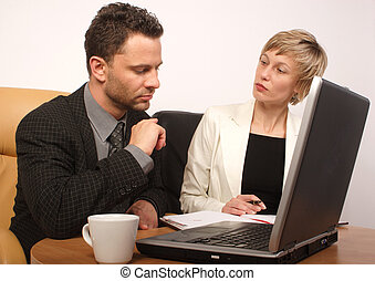 man woman coo work - Man and woman busy with office work