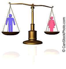 Man Woman equality scale - Man and woman symbol compared on...