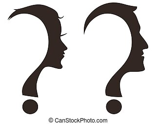 man woman face with question mark - isolated man and woman...