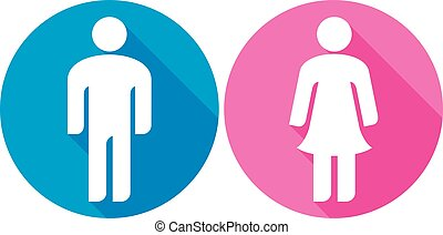 man & woman flat icon (wc sign)