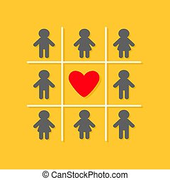 Man Woman icon Tic tac toe game. Red heart sign Yellow background Flat design Vector illustration