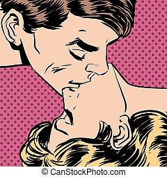 man woman kiss love relationship romance - A man and a woman...