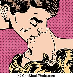 man woman kiss love relationship romance - A man and a woman...