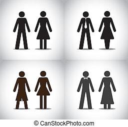 man woman or boy girl symbol set
