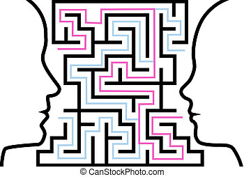 A couple of people communicate to solve a maze of love or other problems in a puzzle.