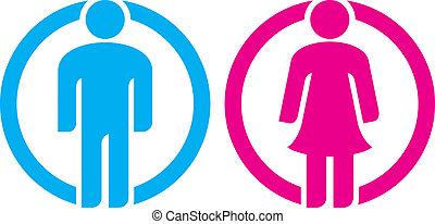 man & woman restroom sign (silhouettes of man and woman, boy...