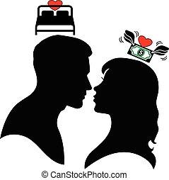 man, woman., silhouette