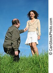 man woman standing