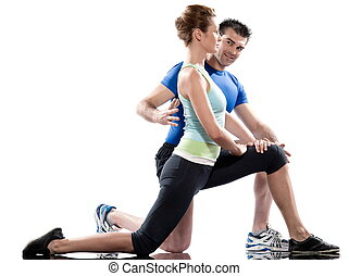 man woman stretching workout posture
