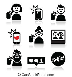Man, woman taking selfie with mobil - Vector icons set of...