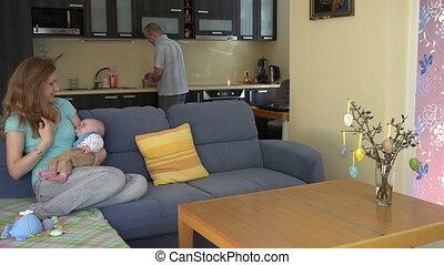 man woman tea baby - Father man bring his wife woman coffee...