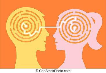 Man woman understanding, labyrinth concept.
