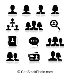 Modern simple black icons set - businessman, businesswoman, workers