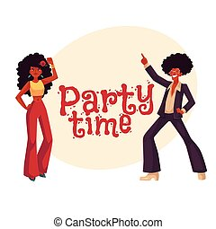 Man, woman with afro hair in 1970s clothes dancing disco