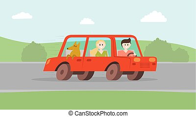 Man woman with dog going by car