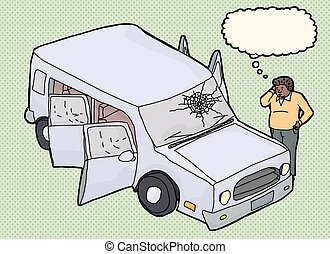 Man Wondering About Damaged Vehicle - Cartoon of chubby man...