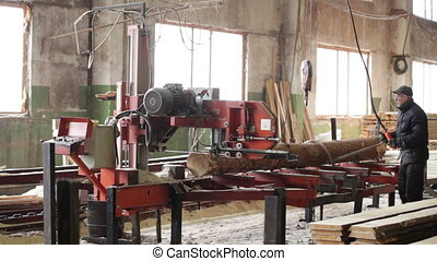 man woodwork machine timber plant