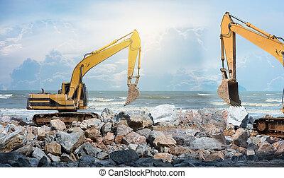 man work construction site excavator  earthmoving