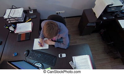 Man work in business office Jib footage - Man work in...