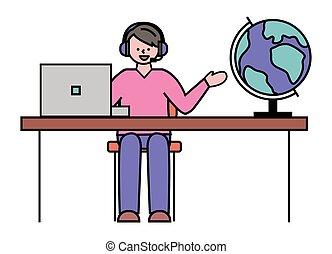 Man Work in Travel Agency, Spherical Earth Globe