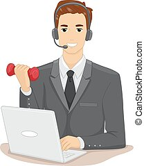 Man Work Out At Work - Illustration of a Man in a Suit and...